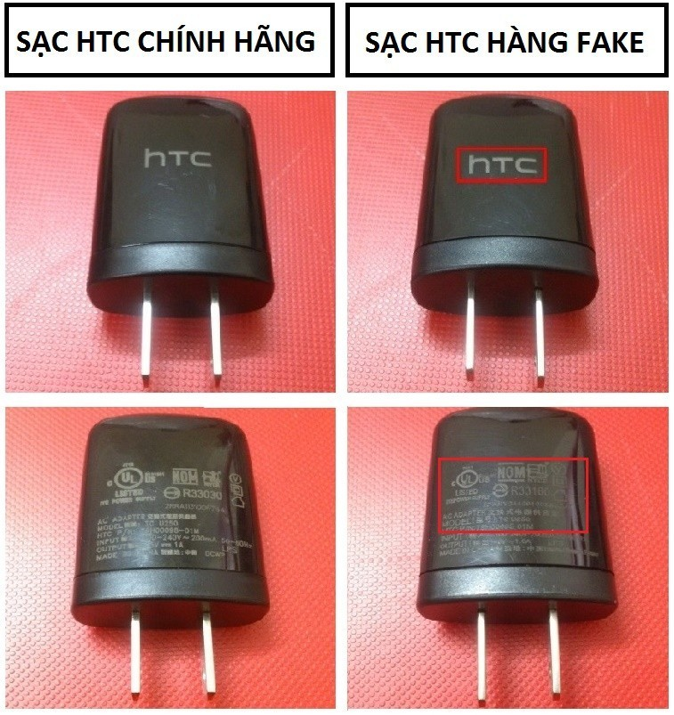sac htc chinh hang va hang fake